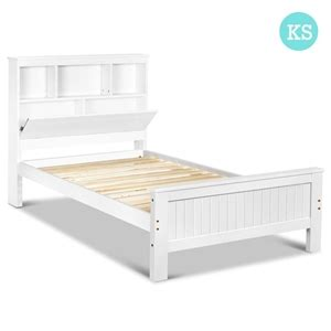 Buy King Single Wooden Bedframe With Storage Shelf White Buy King Single Bed Frame