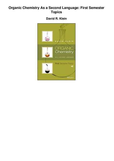 Pdf Organic Chemistry As Second Language by Organic Chemistry As A Second Language Semester