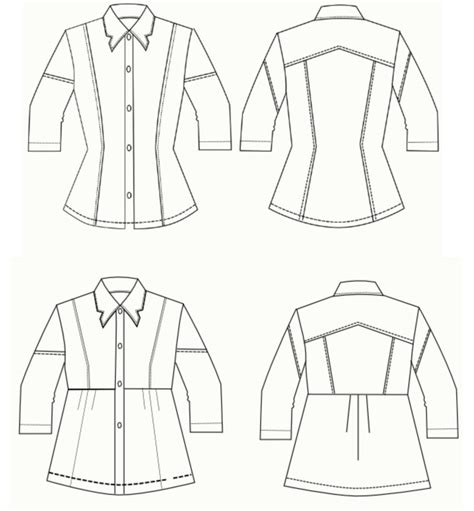 shirt pattern drawing adeline shirt and dress dg patterns