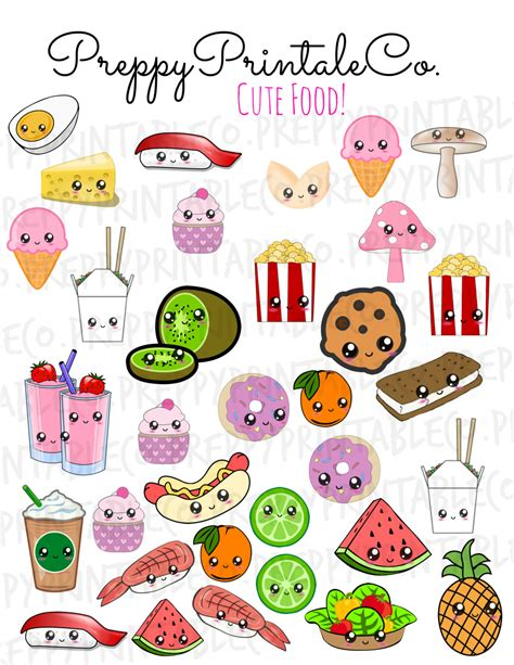 printable cartoon stickers kawaii cute food stickers printable pdf perfect for erin
