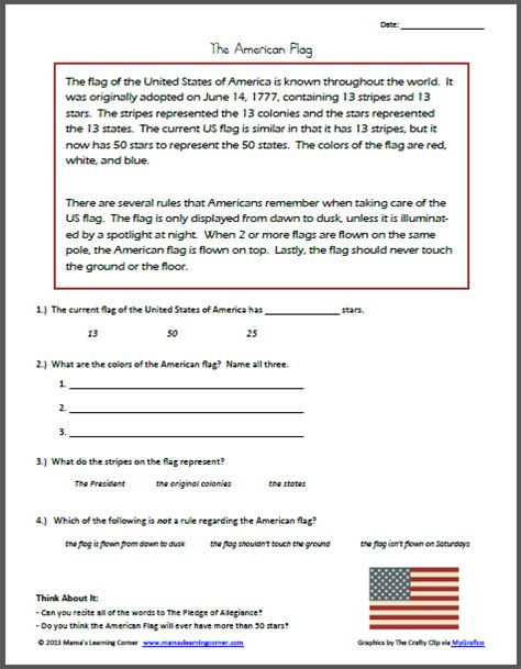 An American Worksheet Reading Comprehension The American Flag Mamas Learning Corner