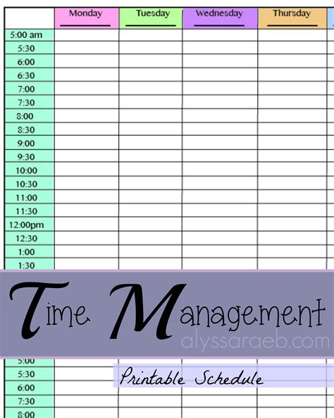 template for time management schedule time management printable calendar templates