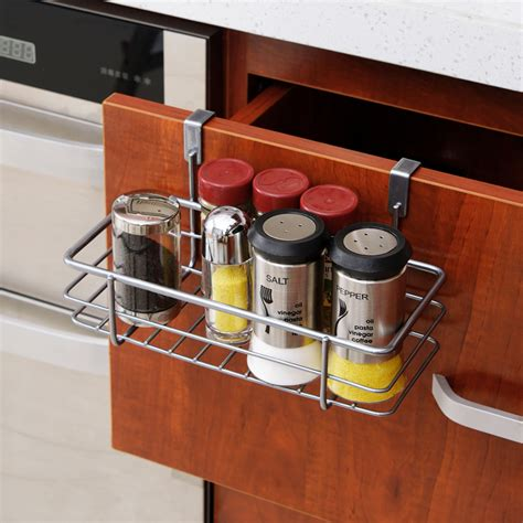 Kitchen Cabinet Door Storage Racks Multifunctional Iron Door Storage Rack Practical Kitchen Cabinet Drawer Organizer Door