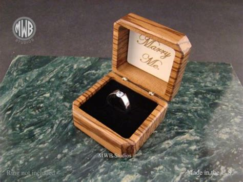 buy a hand crafted zebra wood engagement ring box with free engraving and shipping rb48 made