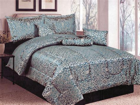 slate blue bedding 7 pc geometric floral damask motif jacquard comforter set
