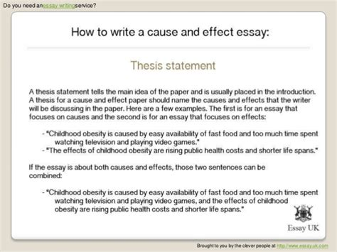 Writing Cause And Effect Essay by How To Write A Cause And Effect Essay Essay Writing