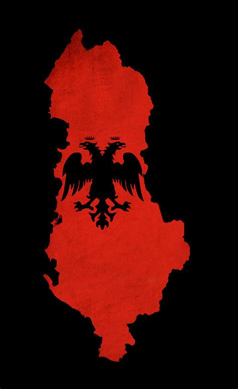 Albanian Flag Outline by Albania Grunge Map Outline With Flag Photograph By Matthew Gibson