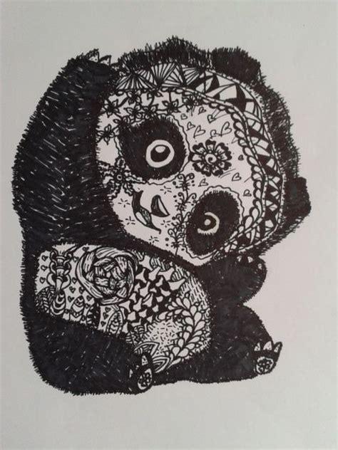 zentangle panda zentangle drawings pinterest