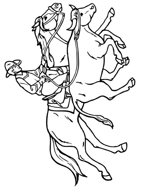 coloring pages of cowboys and horses coloring page cowboy on wrangling bull