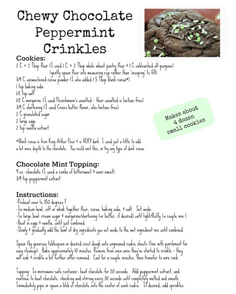 printable biscuit recipes chewy chocolate peppermint crinkles recipe happyandsimple