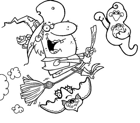halloween witch coloring pages for kids