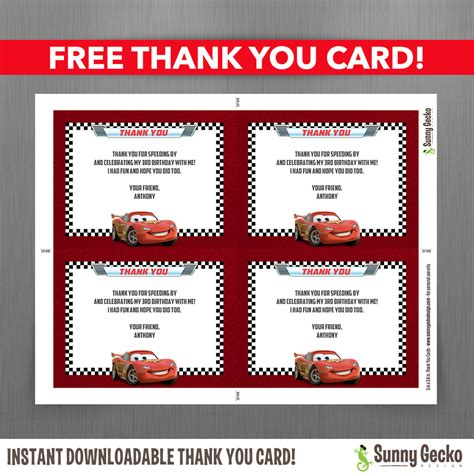 Automobile Thank You Card Template Free disney cars lightning mcqueen birthday invitation with