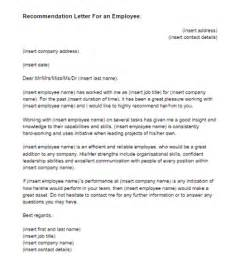 template for letter of recommendation from employer recommendation letter for an employee sle just letter