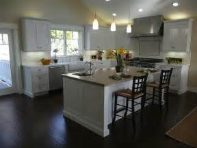 Floor Cabinets For Kitchen White Kitchen Cabinets Wood Floors Transitional Kitchen