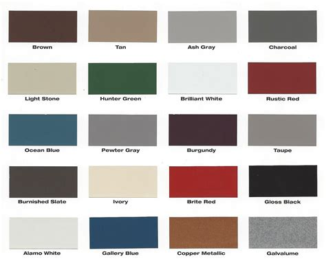 roofing colors mueller metal roof colors