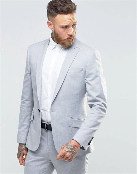 light grey slim fit suit river island river island slim fit suit jacket in light grey