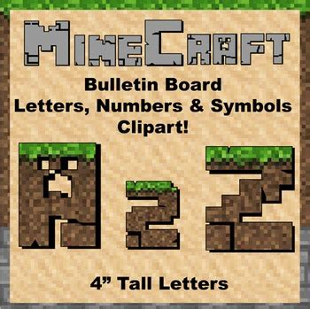 printable minecraft letters bulletin board clip art letters 4 quot tall soil minecraft