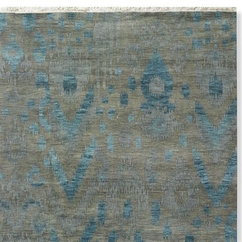 Turquoise And Grey Rug by Sea Ikat Knotted Rug Swatch Turquoise Gray