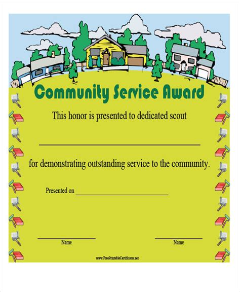 22 Award Certificates Sles Templates Sle Templates Community Service Certificate Template Free