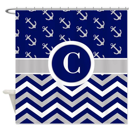 navy chevron shower curtain navy gray chevron anchors monogram shower curtain by
