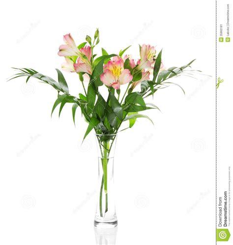 Bouquet Of Flowers In A Vase by Bouquet Of Alstroemeria Flowers In Glass Vase Stock Image
