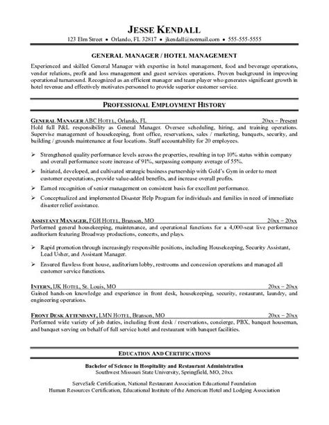Hotel General Manager Resume Sle by Hotel Manager Resume Printable Planner Template