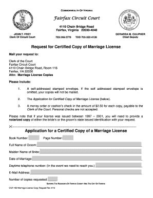 Fairfax County Court Records Marriage Request Form Fill Printable Fillable