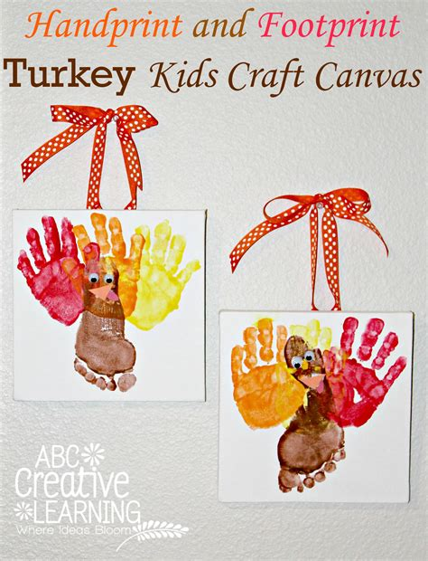 crafts with handprints and footprints handprint and footprint turkey craft canvas