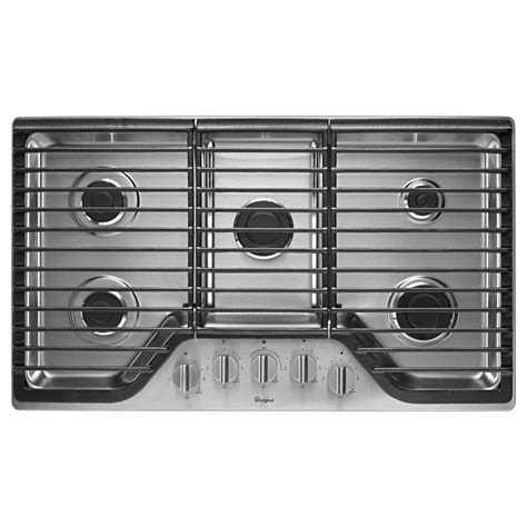 gas cooktop btu whirlpool 36 in gas cooktop in stainless steel with 5
