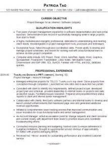 resume samples project manager resume samples for project managers