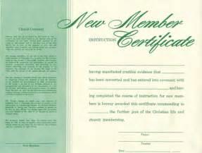 Church Membership Certificate Template by Church Membership Certificate Template Free Quotes