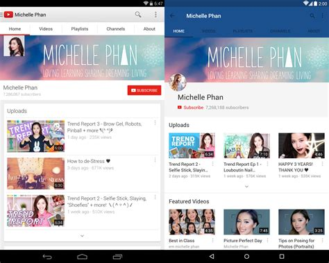 google design youtube youtube for android reved with material design finally