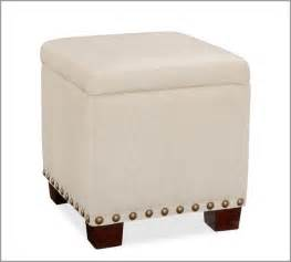 Upholstered Cube Ottoman Raleigh Upholstered Storage Cube With Nailhead Contemporary Footstools And Ottomans By