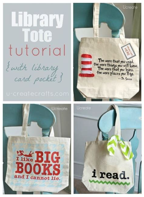 Tutorial C Library | library tote tutorial w library card pocket too