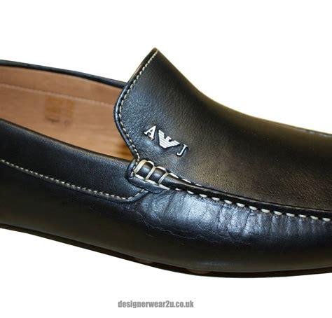 armani loafers armani black leather loafer footwear from designerwear2u uk