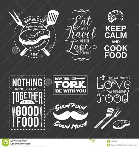 typography quotes vector set of vintage food related typographic quotes vector illustration vector