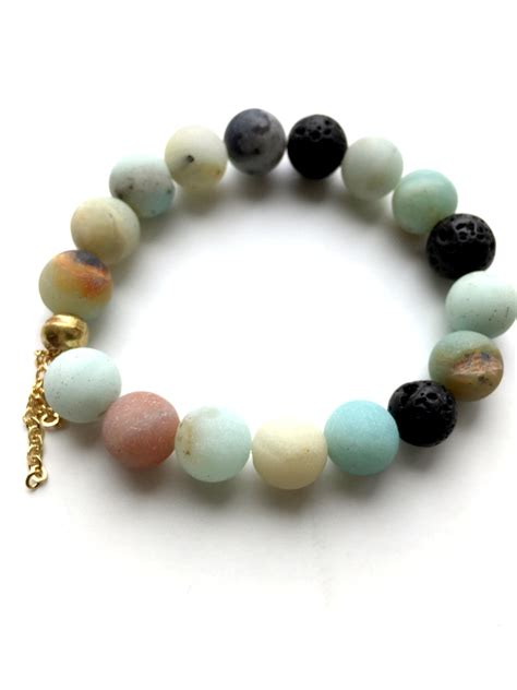 Handmade Gemstone Jewellery - amazonite beaded lava bead bracelet handmade jewelry by