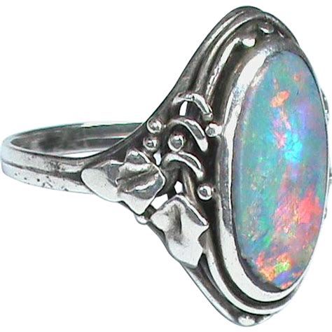 antique arts & crafts sterling silver opal doublet ring
