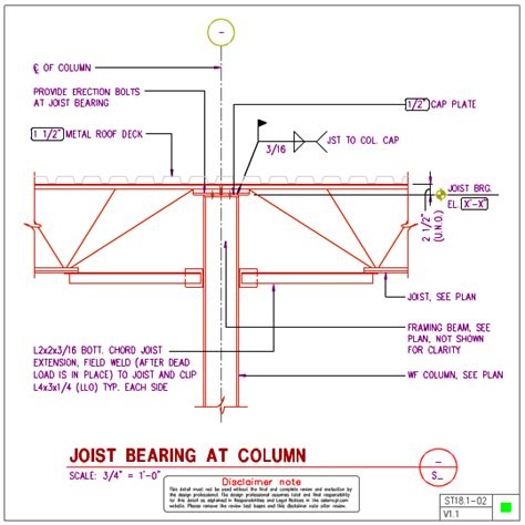 joist section st18 1 steel joist to steel wf column details axiomcpl