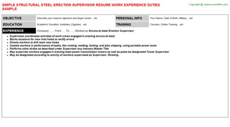 Structural Supervisor Resume by Structural Supervisor Resume Resume Ideas