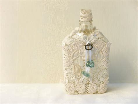 home wall decor set of 4 upcycled bottles home crochet lace bottle eco friendly home decor upcycled