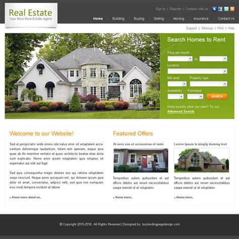 best real estate agent website template design psd