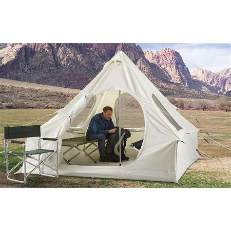 white canvas wall tent 10 x14 canvas wall tents durable guide gear 174 canvas 8x8 lodge tent off white 200326