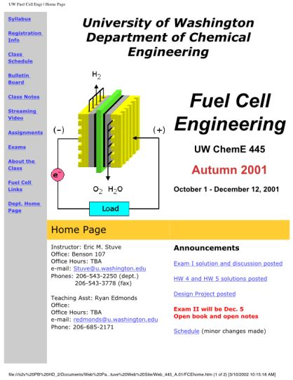 Energy Engineering Course Outline by Powerpoint Presentation Uw Fuel Cell Education Design Project
