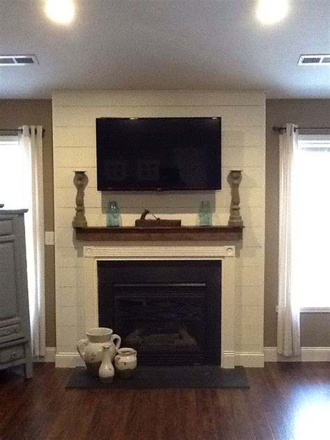 shiplap fireplace finally finishing the living room new floors and shiplap