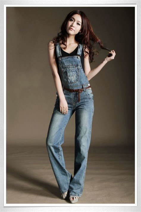 Boot Cut Denim Suspender casual womens denim overalls distressed