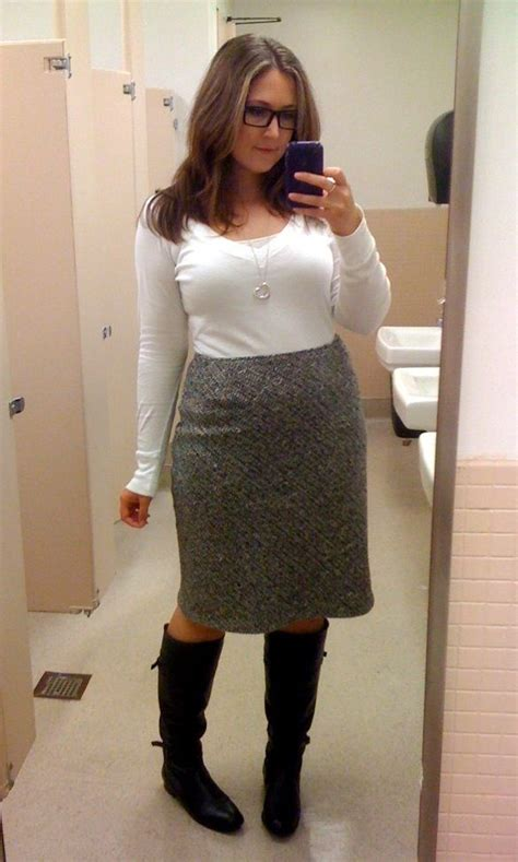 pencil skirt and boots my style