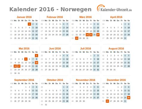 Freitag Kalender 2016 Feiertage 2016 Norwegen Kalender 220 Bersicht
