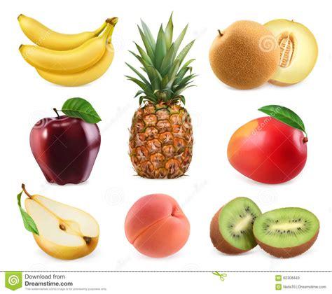 imagenes realistas ejemplos frutas dulces iconos del vector 3d fijados ejemplos