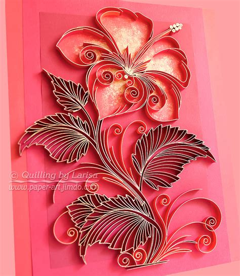 handmade flower design original paper quilling wall art the scarlet flower